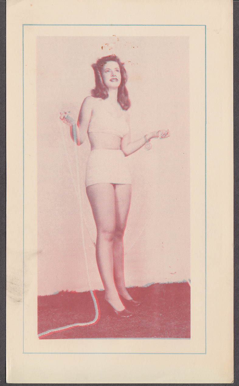 3-D Bathing Beauty Card girl in white two-piece swimsuit & rope 1940s