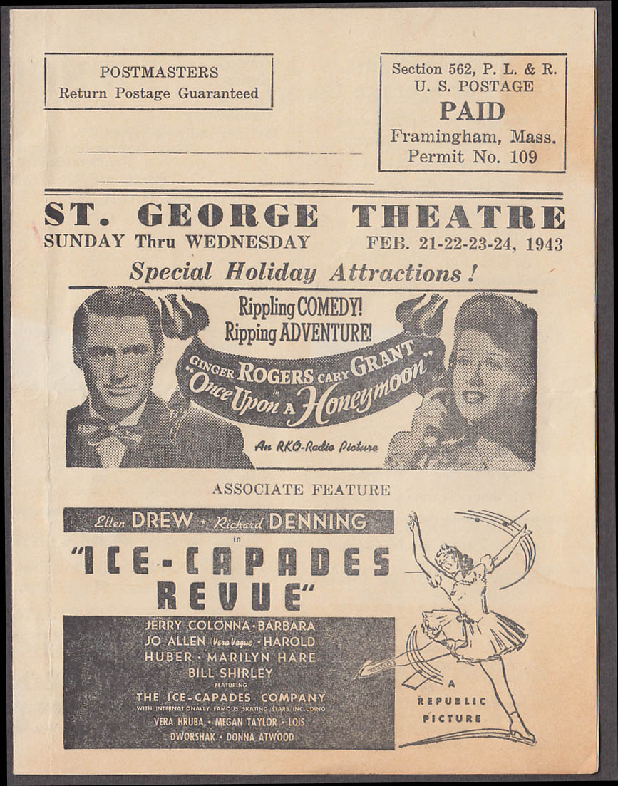 St George Theatre Framingham MA mailer program 1943 Cary Grant Errol Flynn +