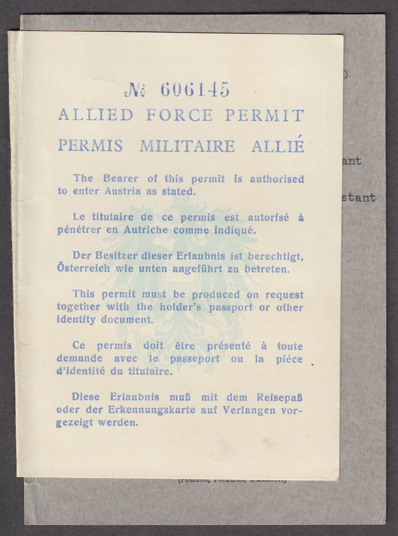 Allied Force Permit to Enter Austria 1950 High Commission Office