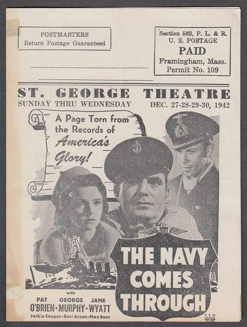 St George Theatre Framingham MA mailer program 1942 Pat O'Brien John Wayne +
