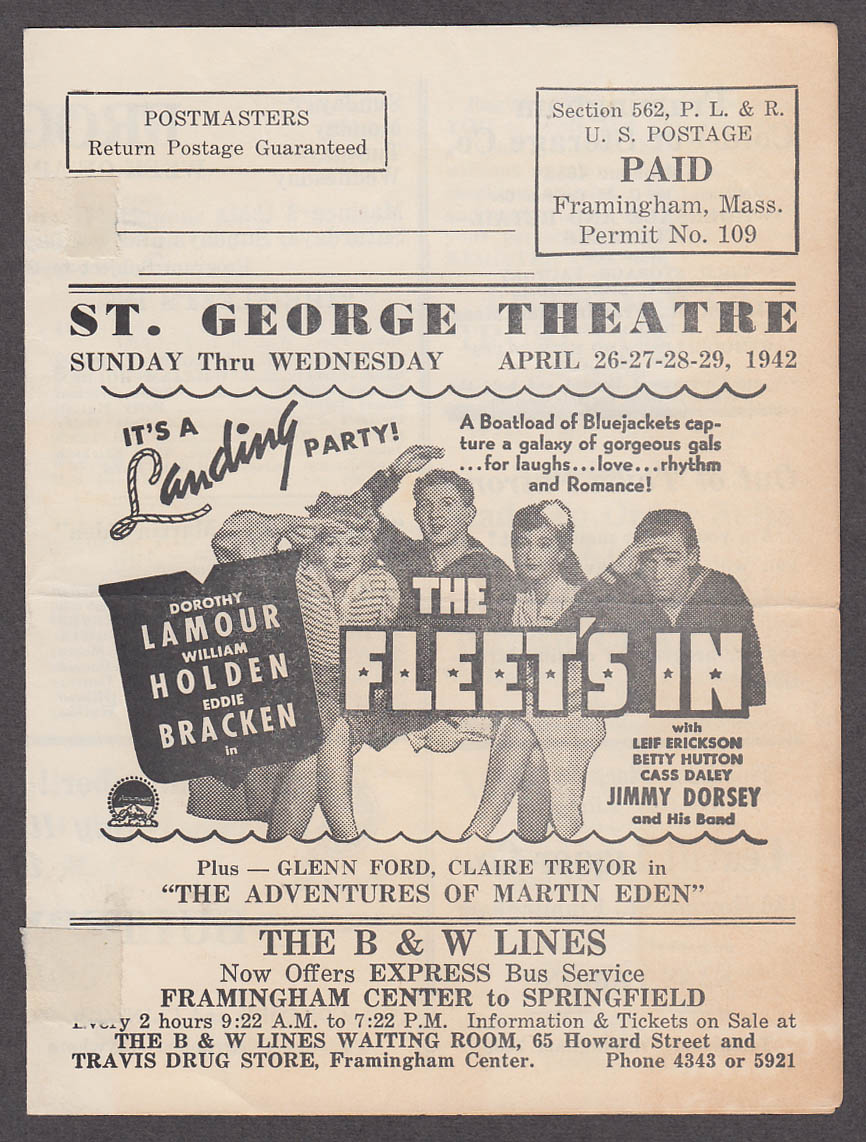 St George Theatre Framingham MA mailer program 1942 Lamour Holden Fonda +