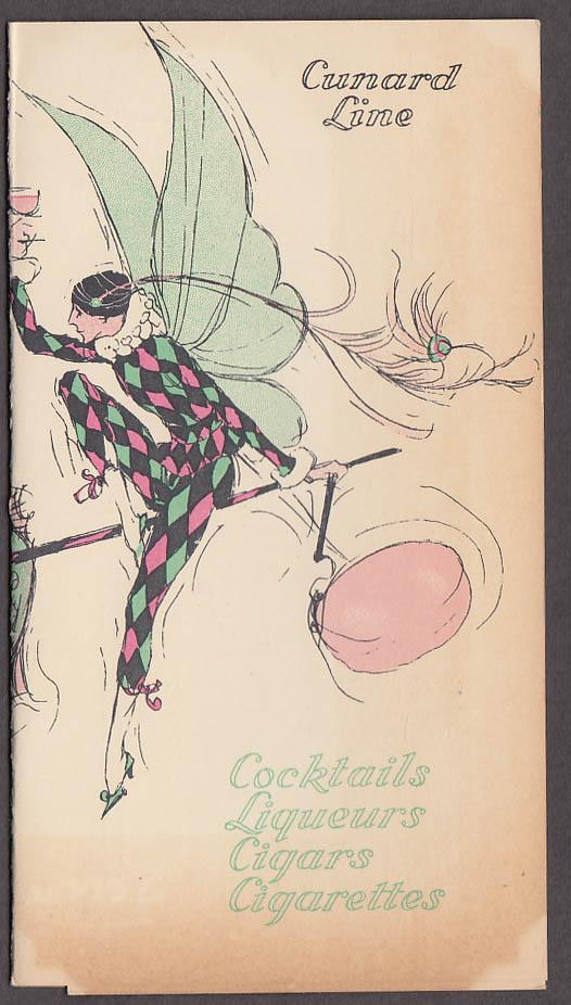 Cunard Line R M S Queen Elizabeth Cocktails Tobacco price list 1951