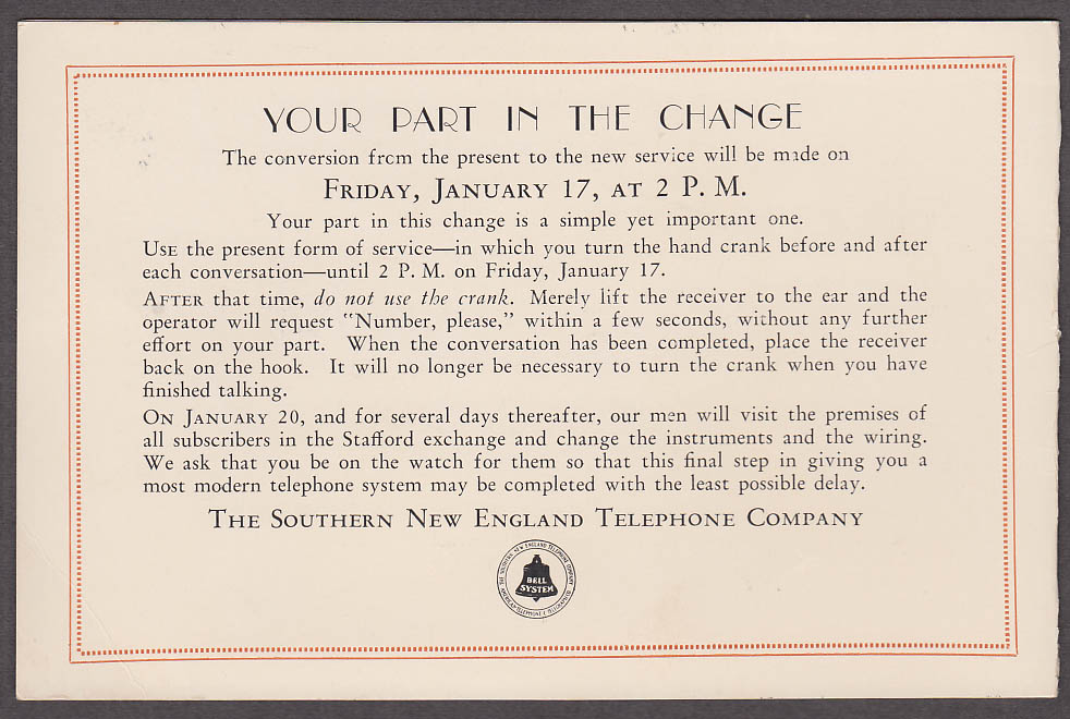 Southern New England Telephone New Stafford Exchange announcement 1930 CT