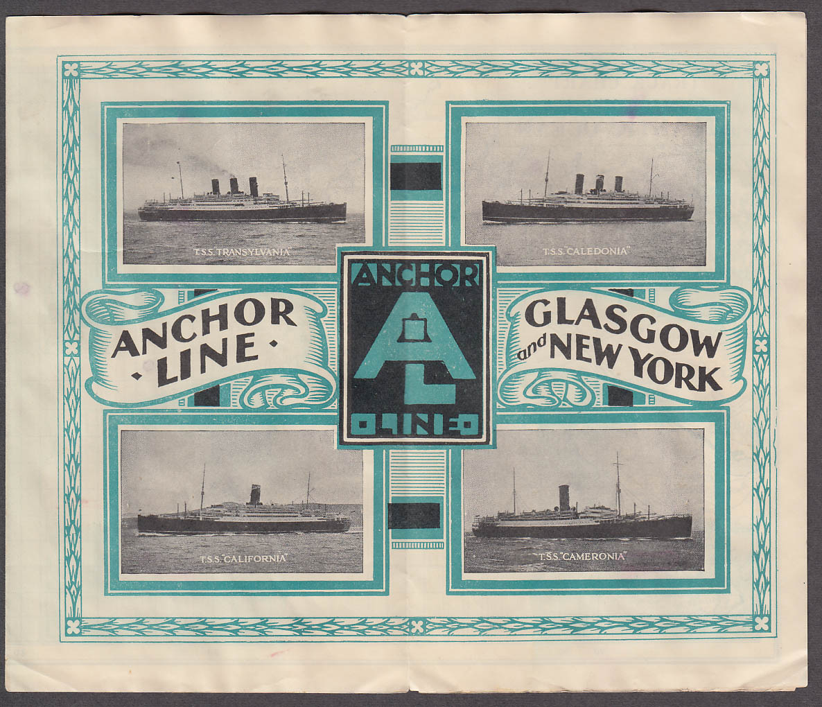 Anchor Line TSS Caledonia Atlantic Track Chart 1939 to Glasgow