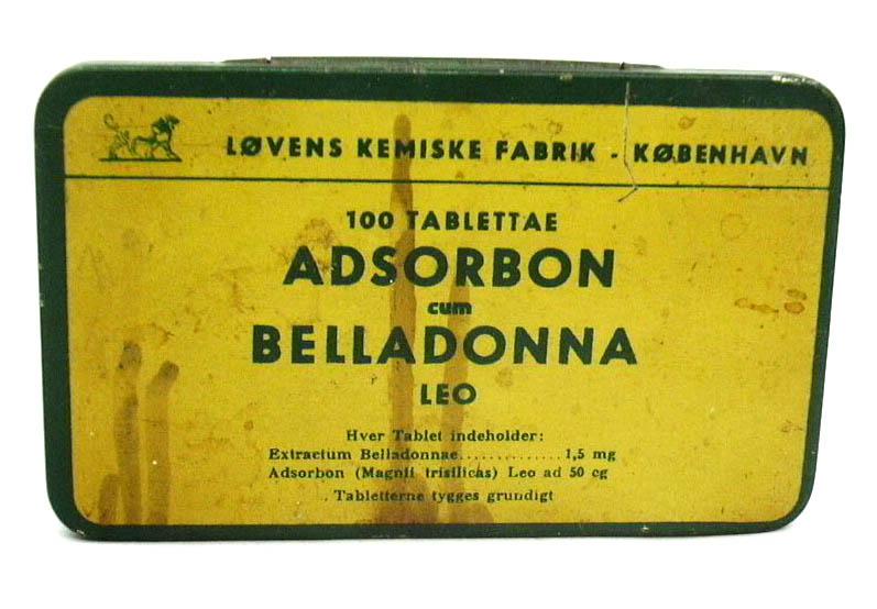 Lovens Kemiske Fabrik Adsorbon Belladonna 100tab empty tin Copenhagen 1930s