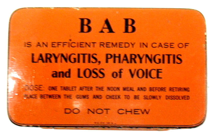 Image for BAB Tablets for weak or diseased throats 50 tab empty tin Springfield ca 1930s