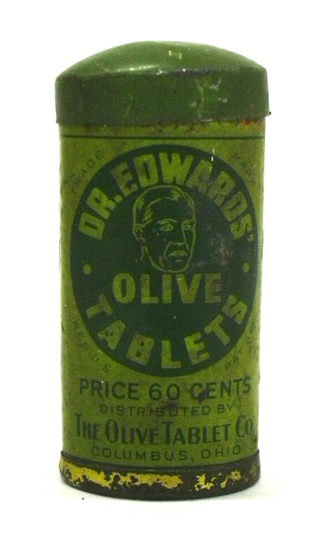 Dr Edwards' Olive Tablets laxative empty tin Columbus OH ca 1930s