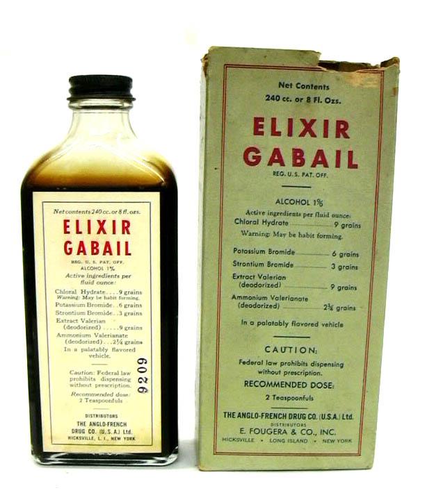 Anglo-French Drug Co Elixir Gabail 8oz bottle in original box ca 1930s