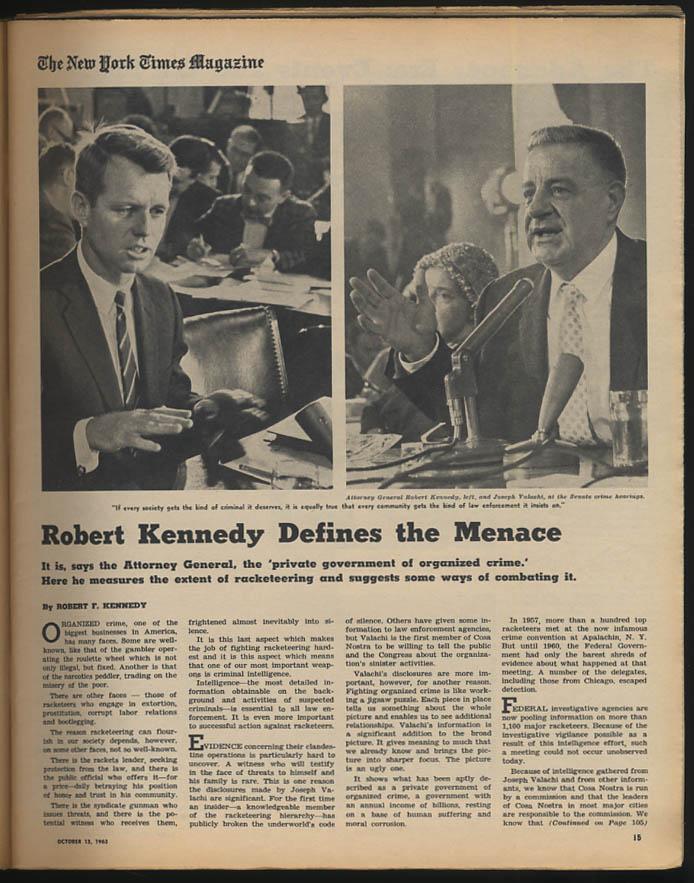 NY Times MAGAZINE 10/13 1963 RFK Adenauer out Tito Wesker Birgit Nilsson Algeria