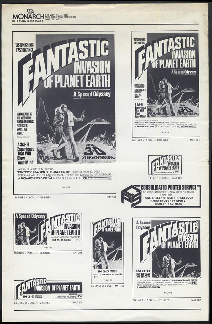 Fantastic Invasion of Planet Earth AKA The Bubble ad mat sheet 1970s