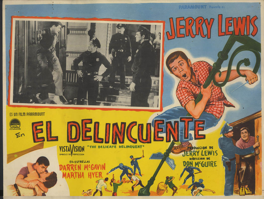Image for El Delicuente aka The Delicate Delinquent lobby card Mexico 1957 Jerry Lewis