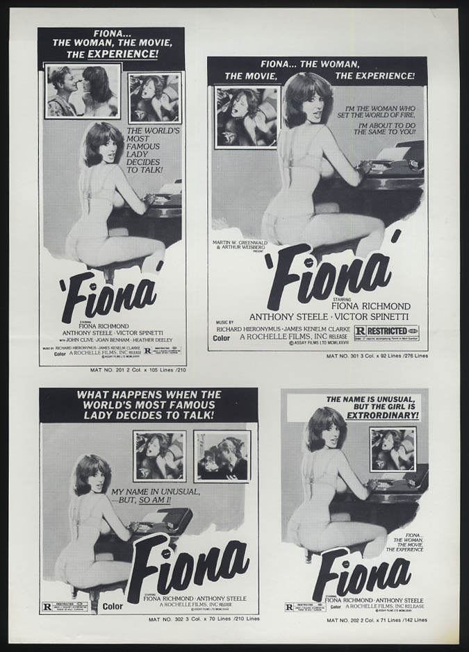 Fiona movie ad mat sheet 1977 starring Fiona Richmond