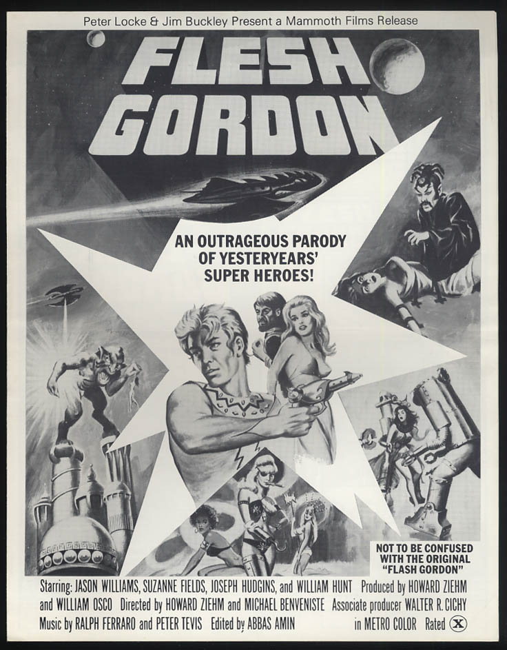 Flesh Gordon ad mat folder 1974 Jason Williams Suzanne Fields