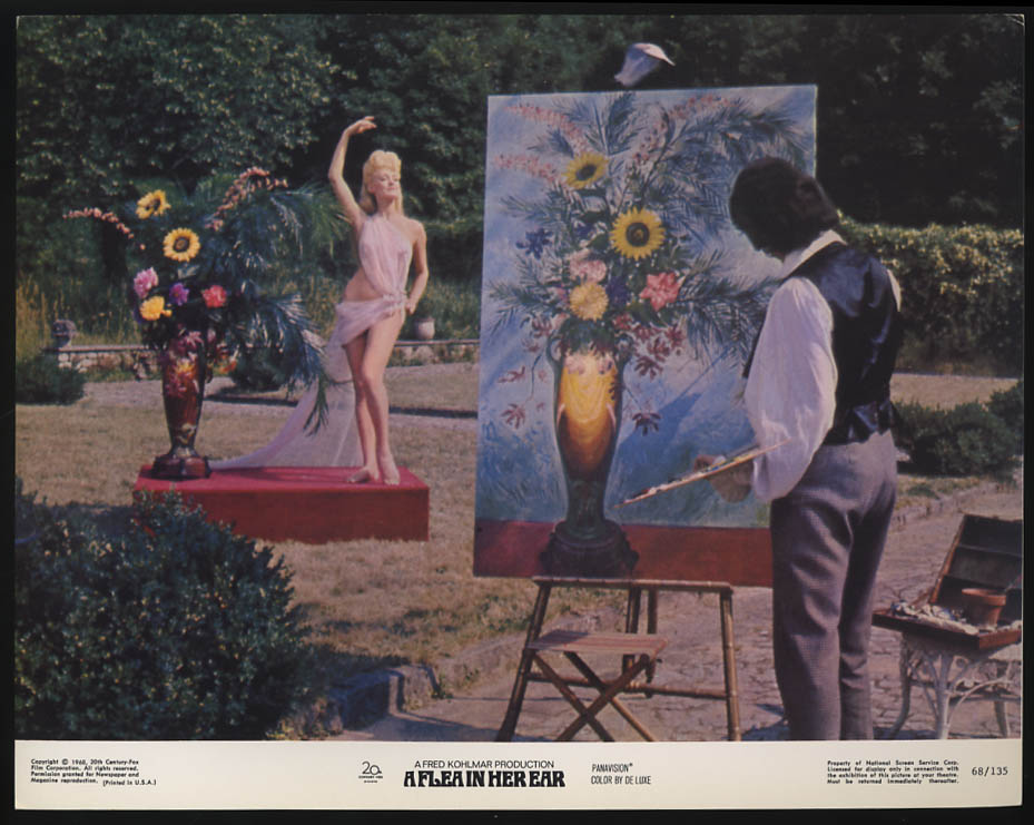 A Flea in Her Ear lobby card 1968 painting still life with draped nude posing