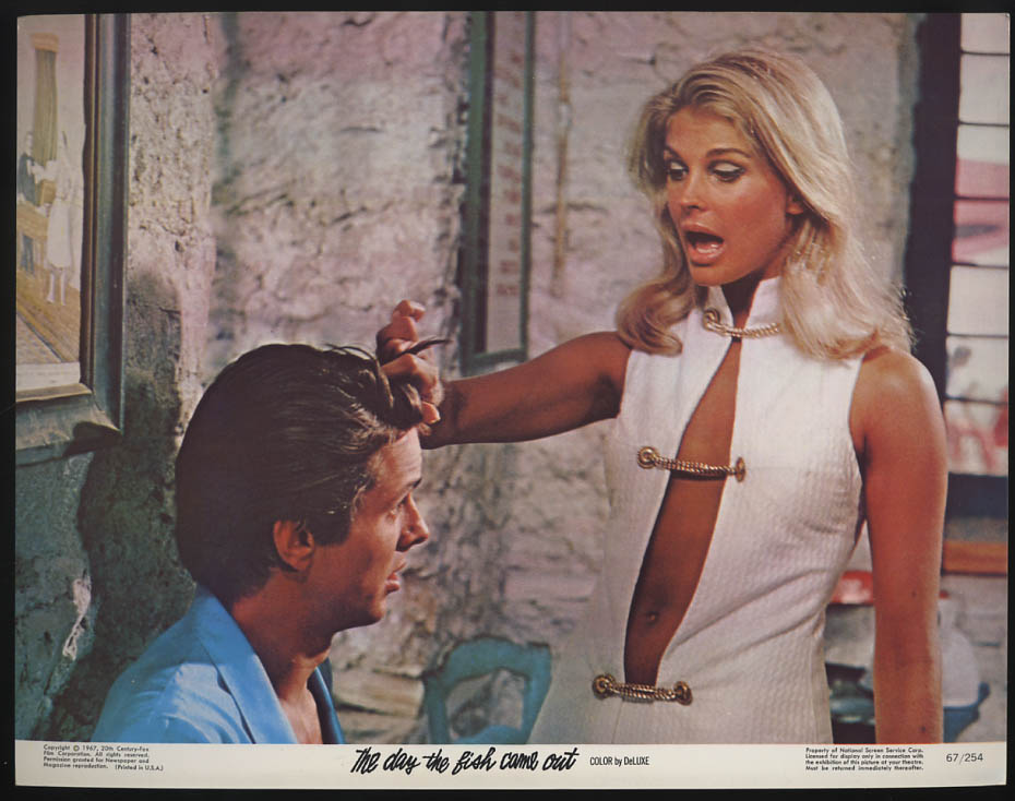 Image for The Day the Fish Came Out lobby card 1967 Candice Bergen twists his hair