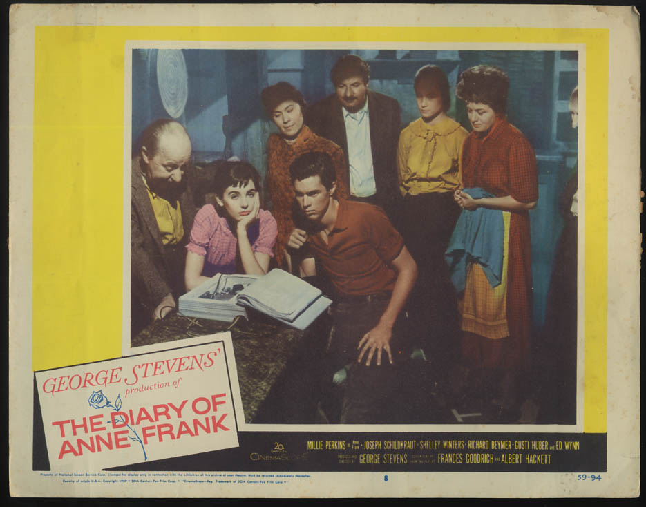 Image for The Diary of Anne Frank lobby card 1959 Millie Perkins Shelley Winters et al
