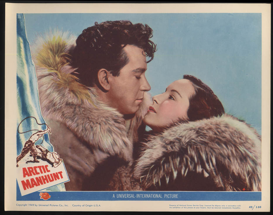 Image for Arctic Manhunt lobby card 1949 Mikel Conrad Carol Thurston in fur parkas
