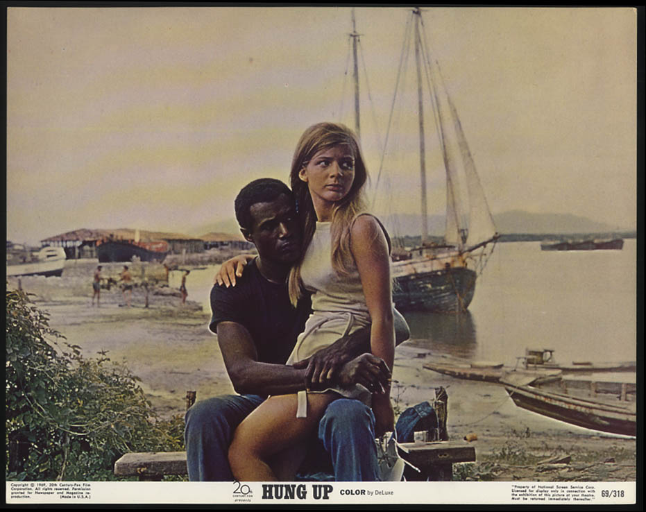 Image for Hung Up lobby card 1973 Patricia Gozzi on Calvin Lockhart's lap at seaside