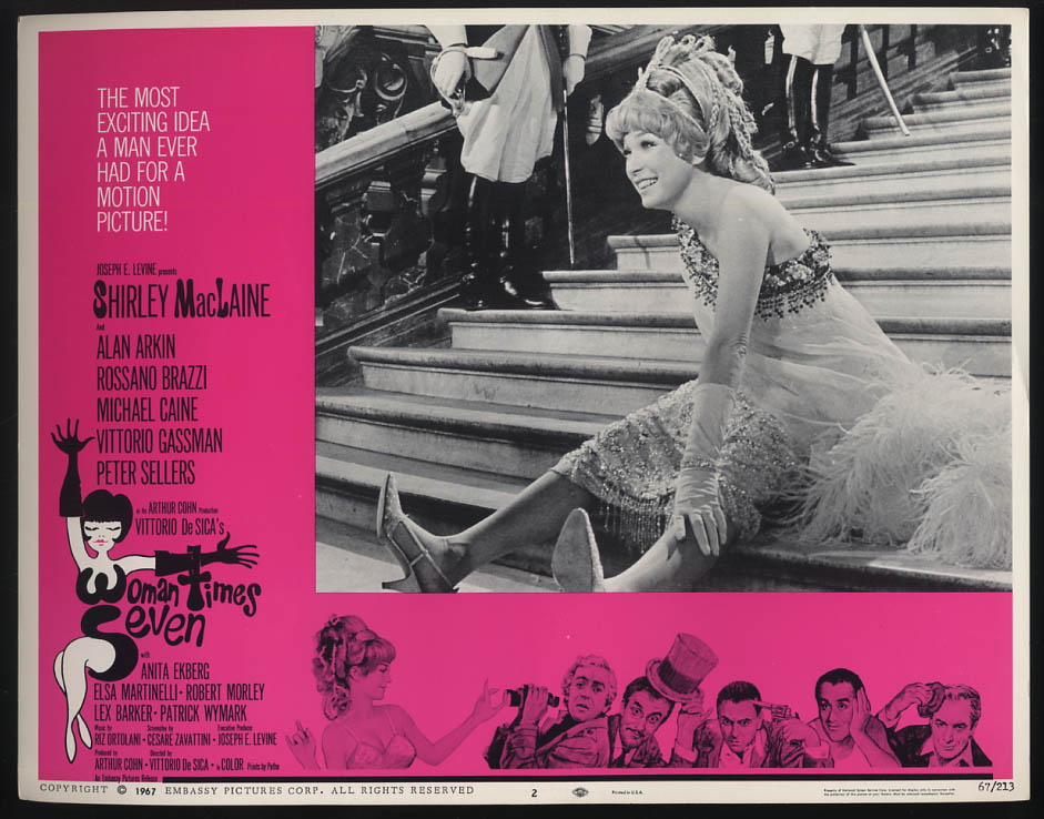 Image for Woman Times Seven lobby card 1967 Shirley MacLaine sitting on staircase