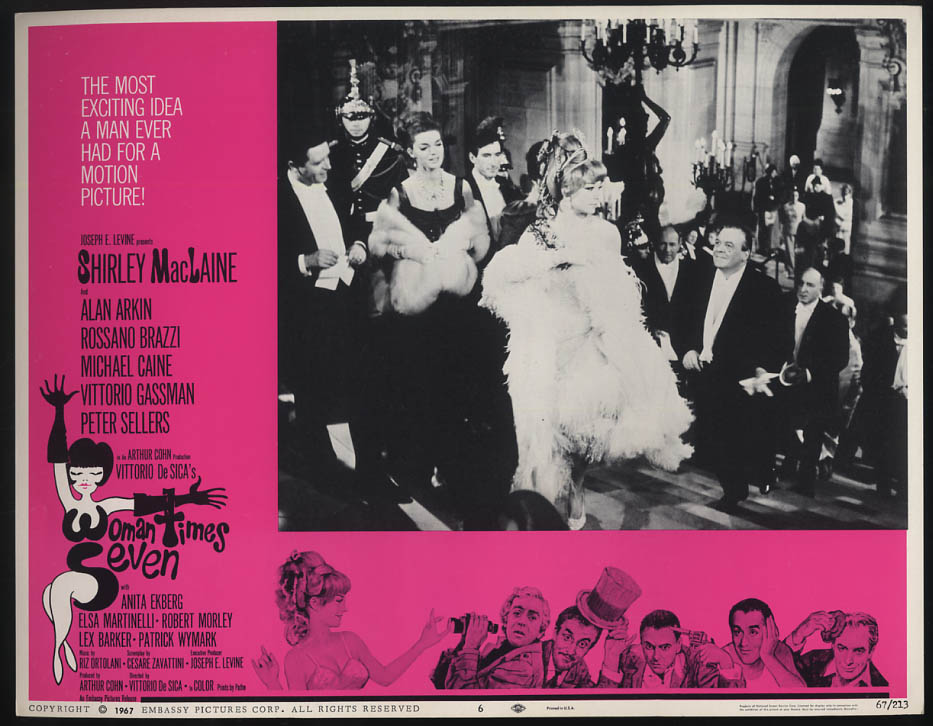 Image for Woman Times Seven lobby card 1967 Shirley MacLaine in feathers at opera