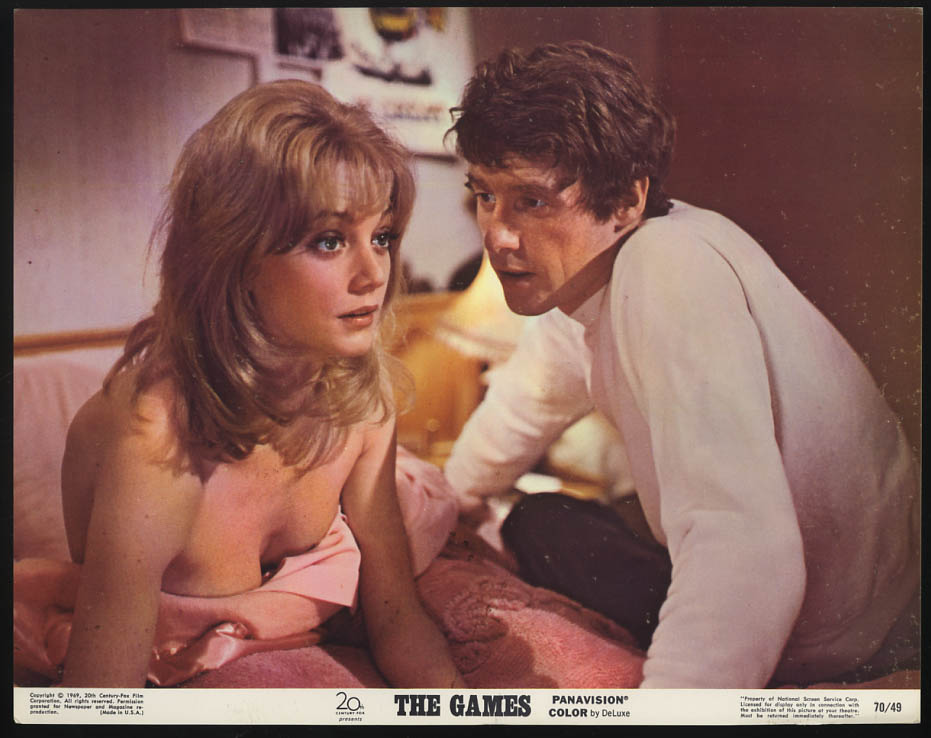 Image for The Games lobby card 1970 Elaine Taylor Michael Crawford in bed