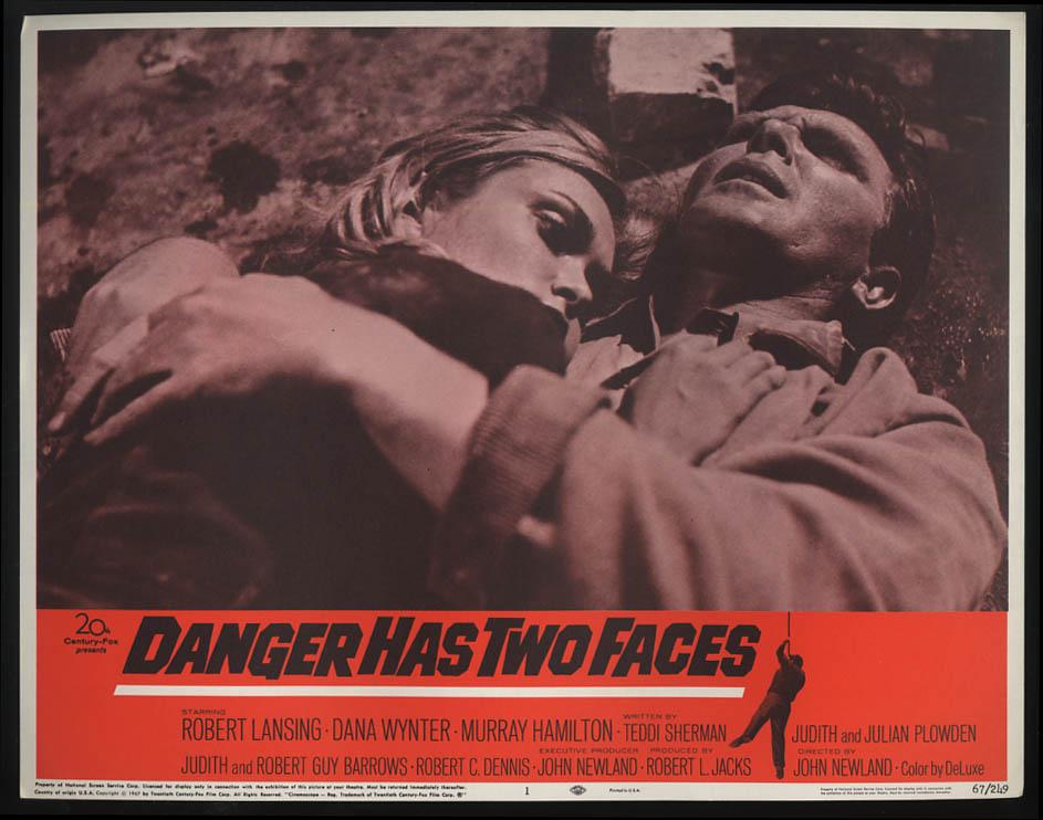 Danger Has Two Faces lobby card 1967 Robert Lansing Dana Wynter hug on ground