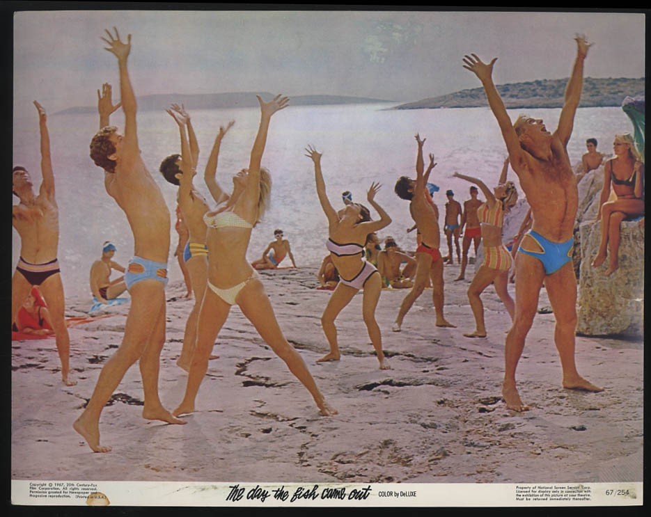 Image for The Day the Fish Came Out lobby card 1967 bikini & beefcake dance on beach