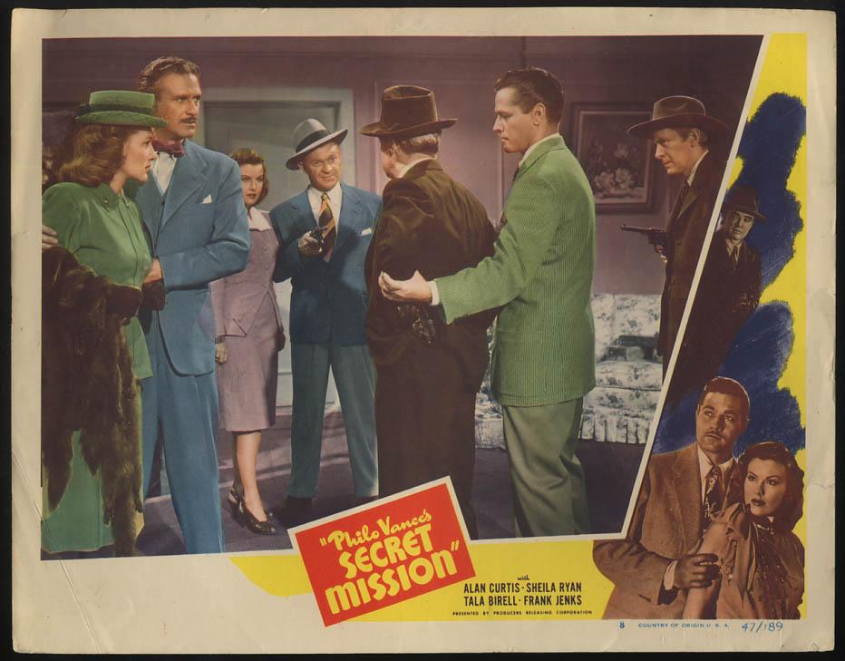 Image for Philo Vance's Secret Mission lobby card 1947 Alan Curtis & gunmen ensemble scene