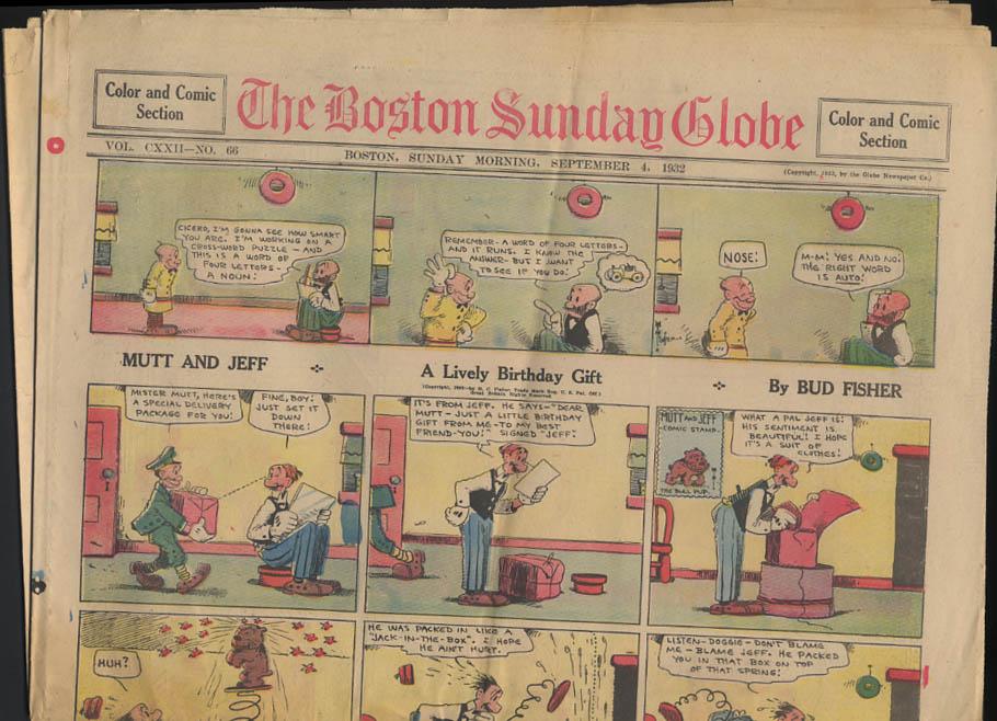 Boston Sunday Globe comics 9/4 1932 Tailspin Tommy Mutt & Jeff ++