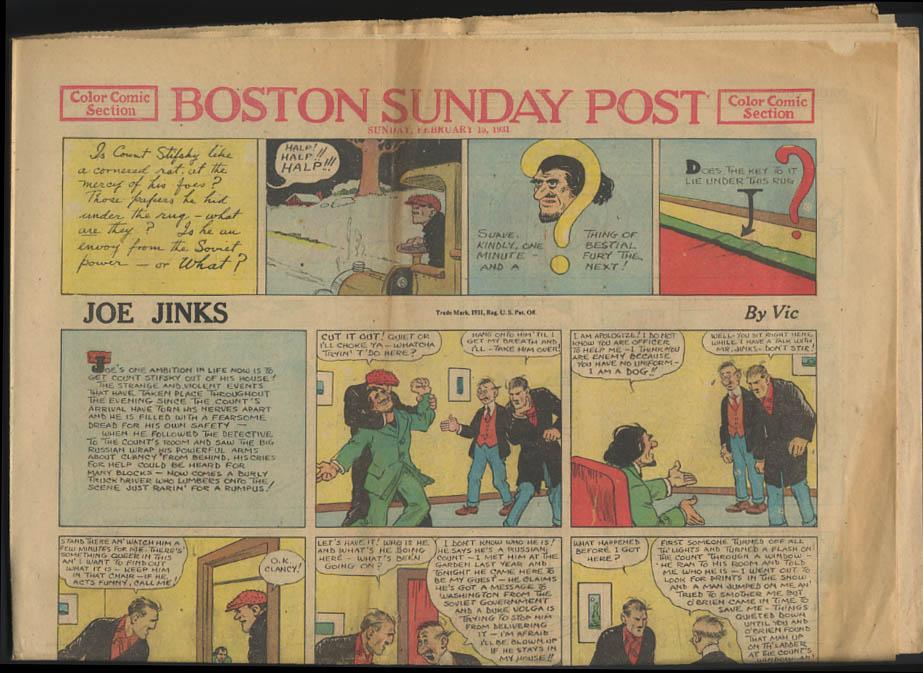 Boston Sunday Post comics 2/15 1931 Joe Jinks Fritzi Ritz ++