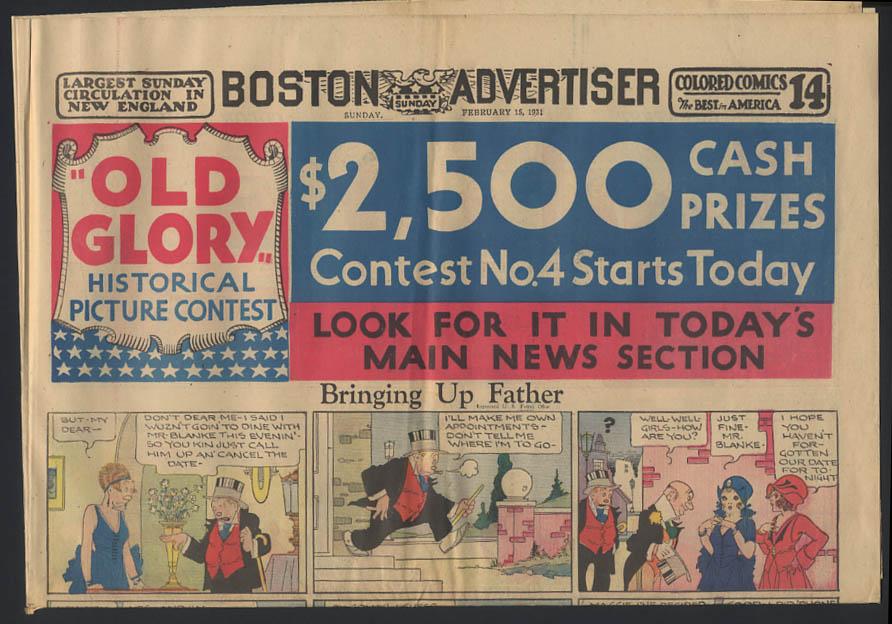 Boston Advertiser comics 2/15 1931 Rube Goldberg Barney Google ++
