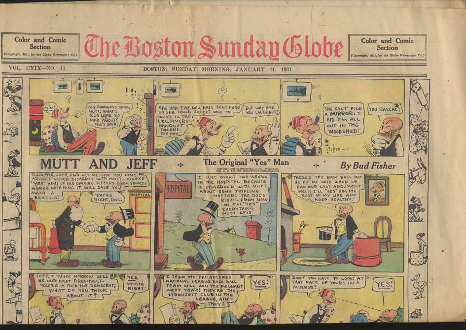Boston Sunday Globe comics 1/11 1931 Tailspin Tommy Mutt & Jeff ++