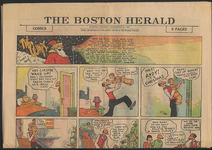 Boston Herald comics 12/22 1929 Litle Orphan Annie Winnie Winkle +