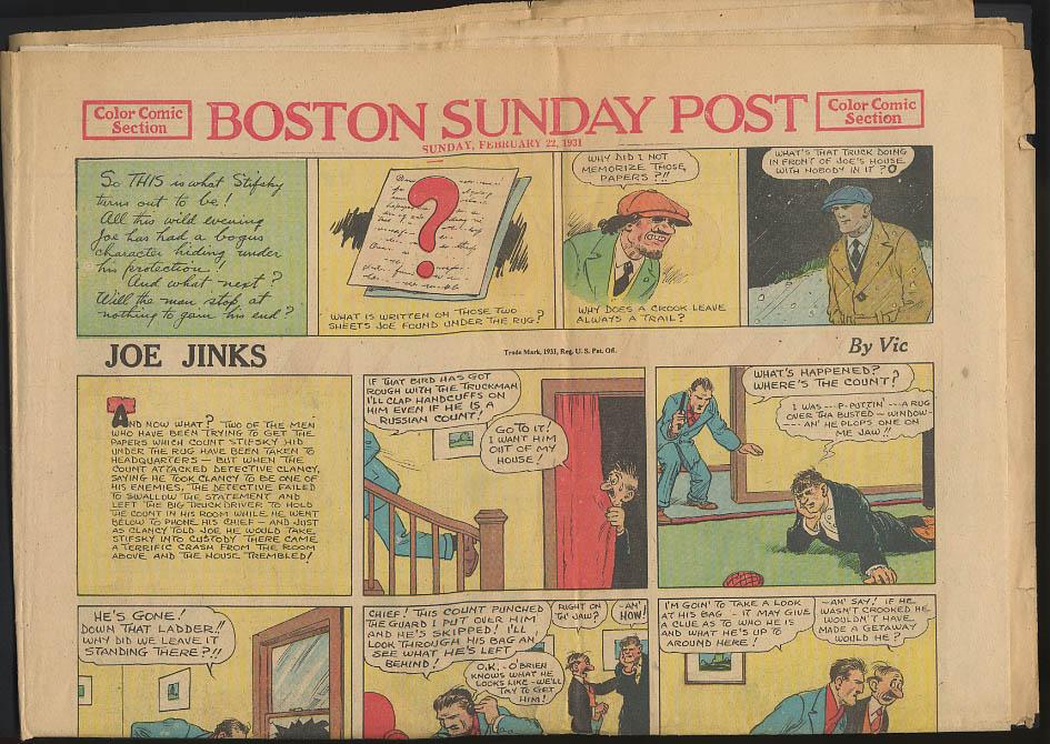 Boston Sunday Post comics 2/22 1931 Joe Jinks Connie by Frank Godwin +