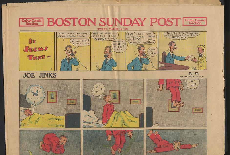 Boston Sunday Post comics 3/16 1930 Joe Jinks Connie by Frank Godwin +