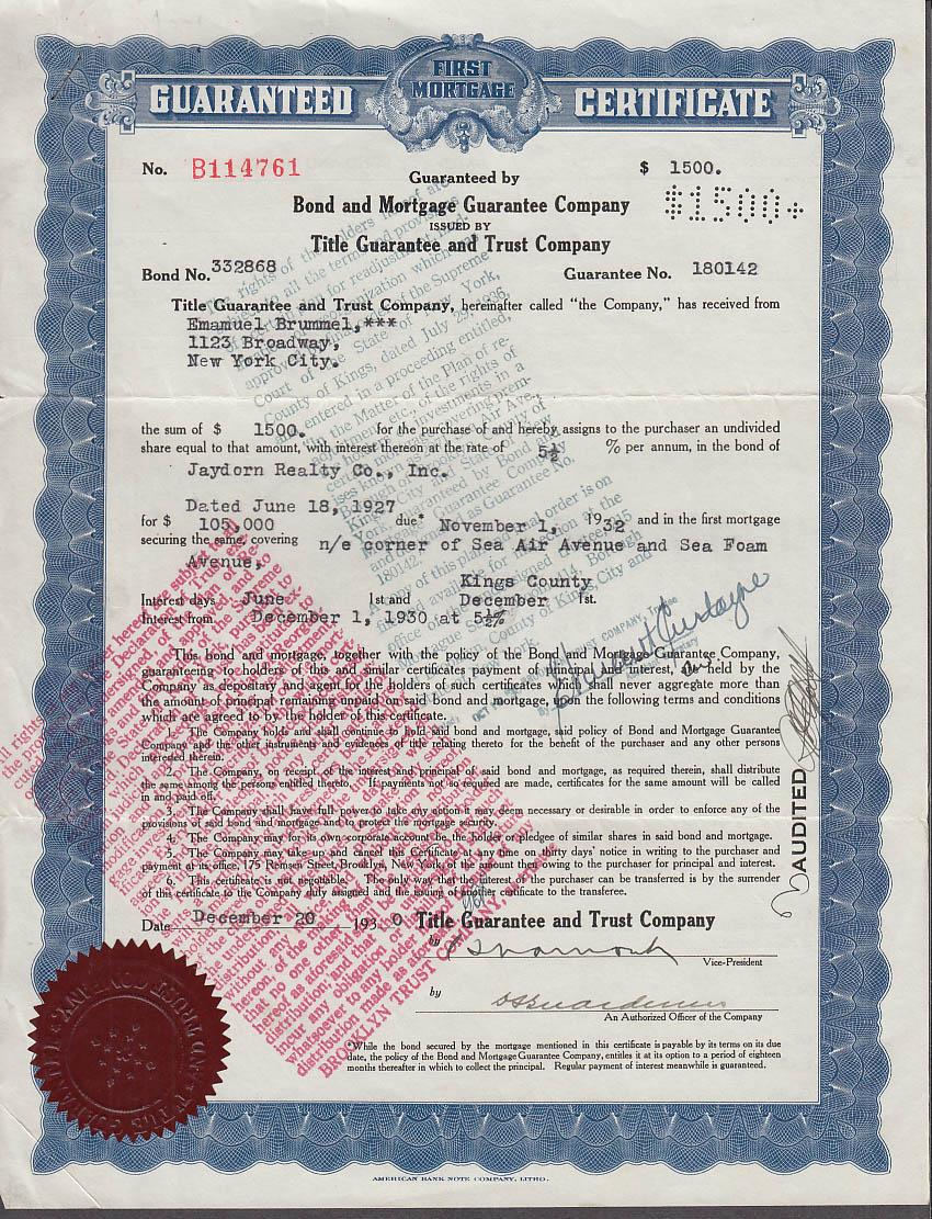 1st Mortgage Certificate corner Sea Air & Sea Foam Avenue Kings Cty ...