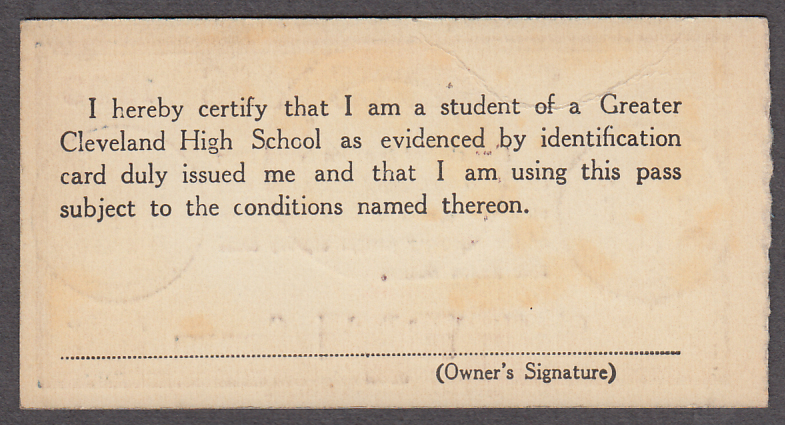 Cleveland Railway Student's Pass 2/18 1933 OH