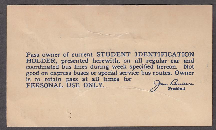 St Louis Public Service City Transit Student Pass 10 1947