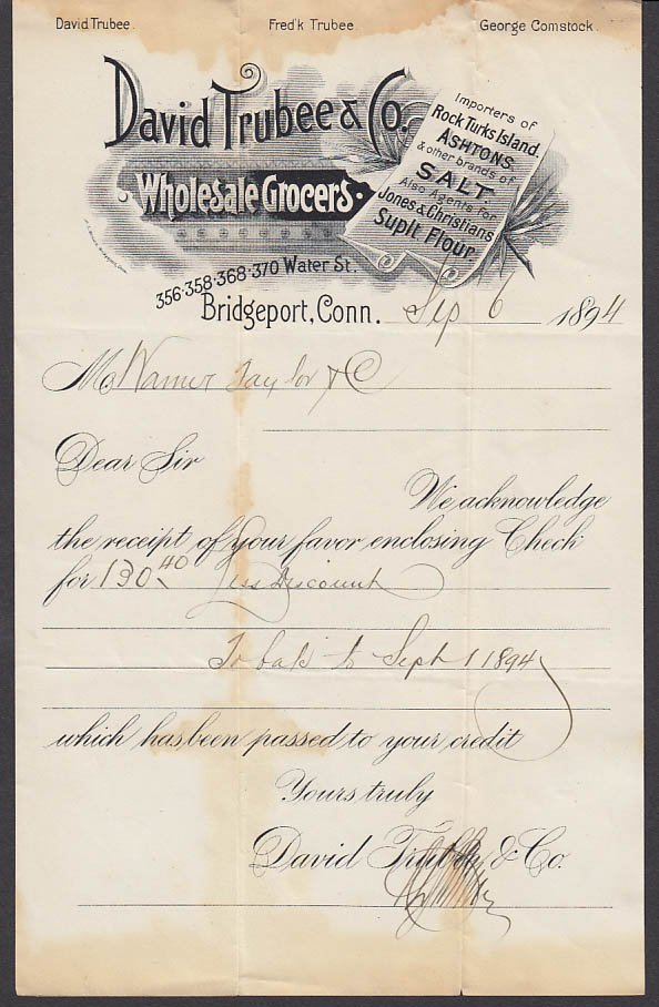 David Trubee Wholesale Grocers Bridgeport CT receipt of payment letter 1894