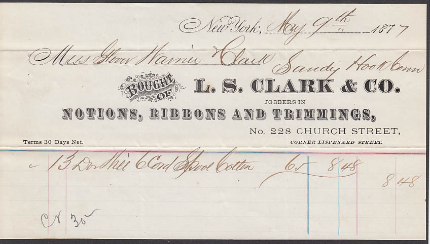 L S Clark Notions Ribbons & Trimmings NYC invoice 1877 Sandy Hook CT