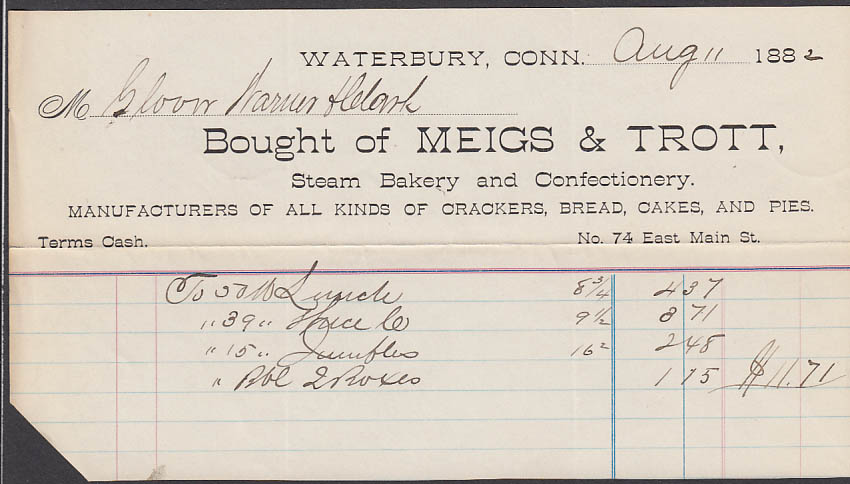 Meigs & Trott Steam Bakery Confectionery Waterbury invoice 8/11 1882