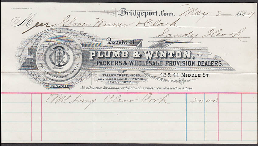 Plumb & Winton Packers Provision Dealers Bridgeport CT invoice 1884 Sandy Hook
