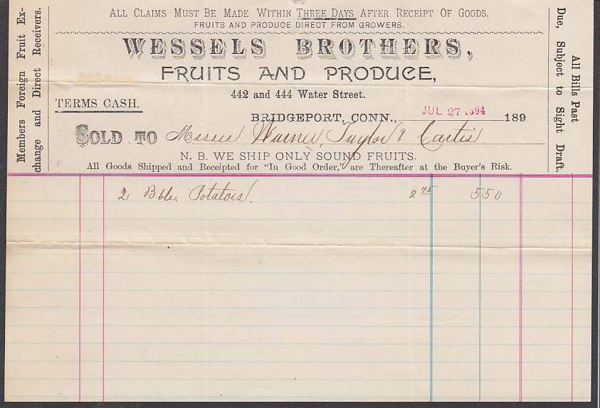 Wessels Brothers Fruits Produce Bridgeport CT invoice for potatoes 1894