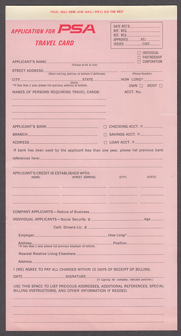 Pacific Southwest Airlines Travel Card credit application form 1960s