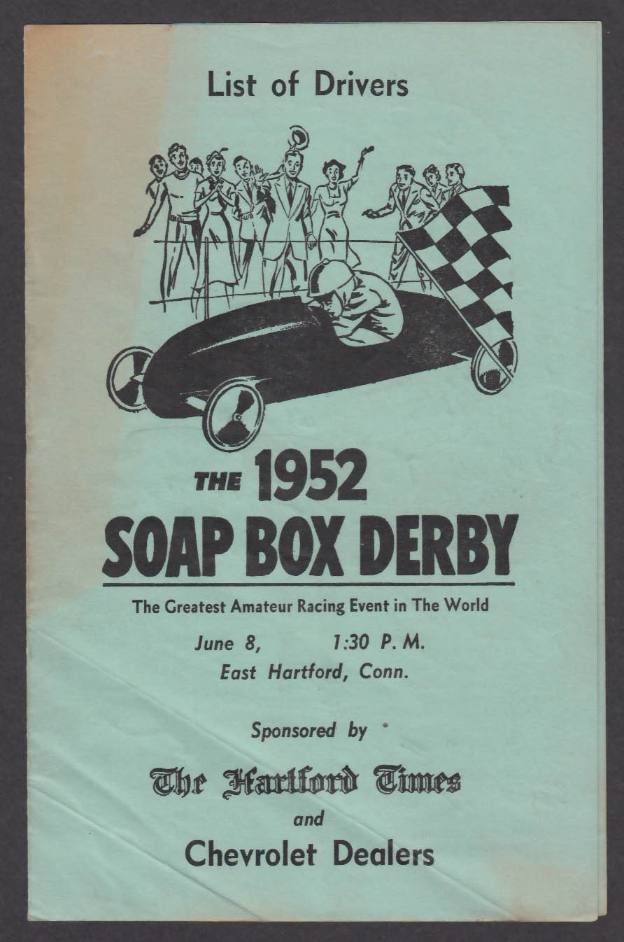 1952 Soap Box Derby Driver List East Hartford CT Times Chevrolet Dealers