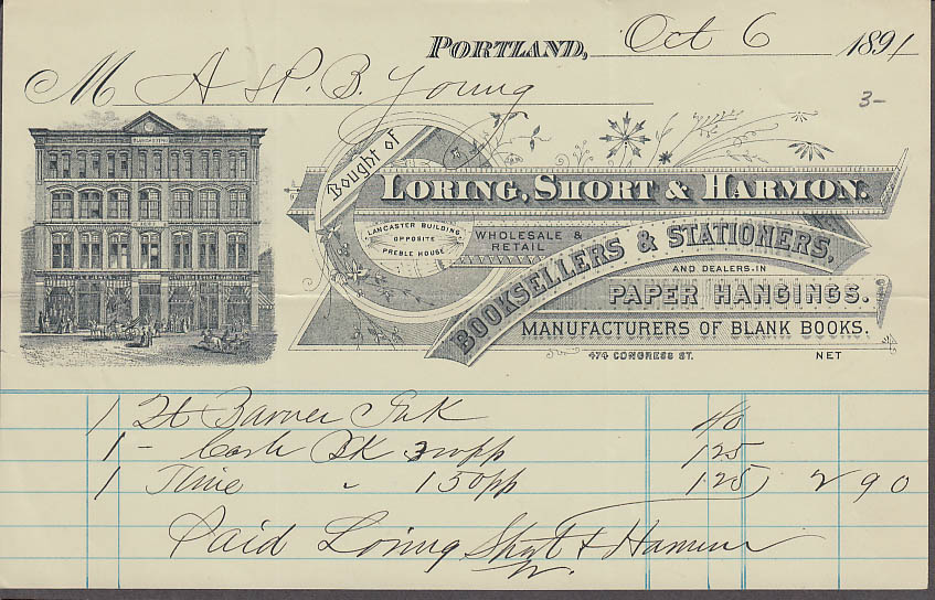 Loring Short & Harmon Booksellers Stationers Portland ME invoice 1891