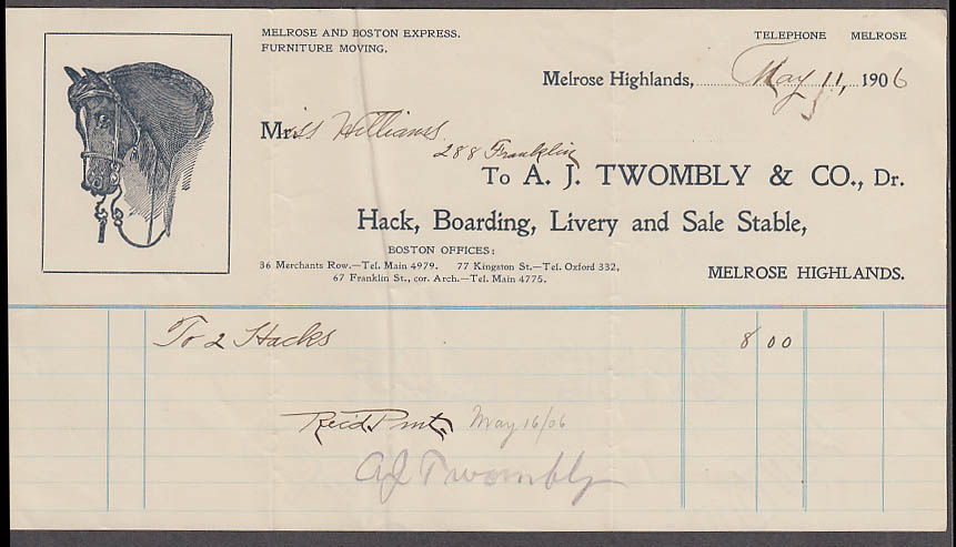 A L Twombly Hack Boarding Livery & Sale Stable Melrose Highlands MA