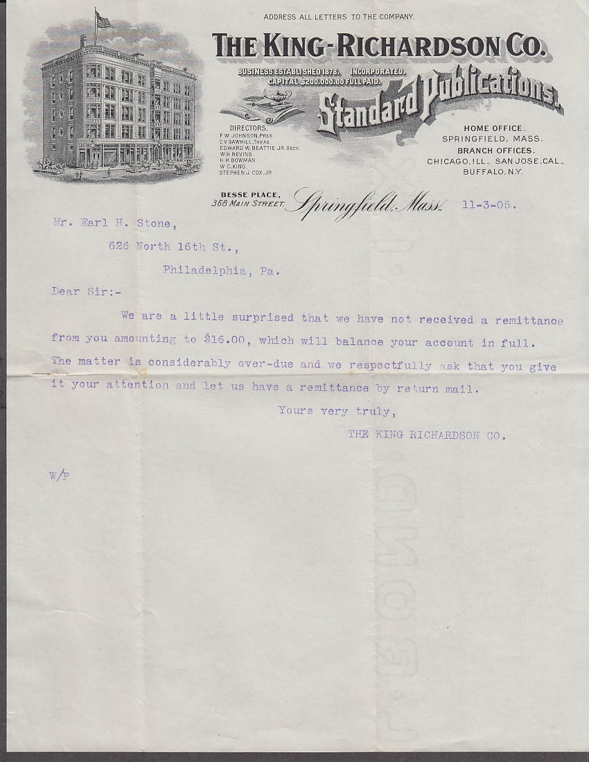 King-Richardson Standard Publications Springfield MA dunning letter 1905