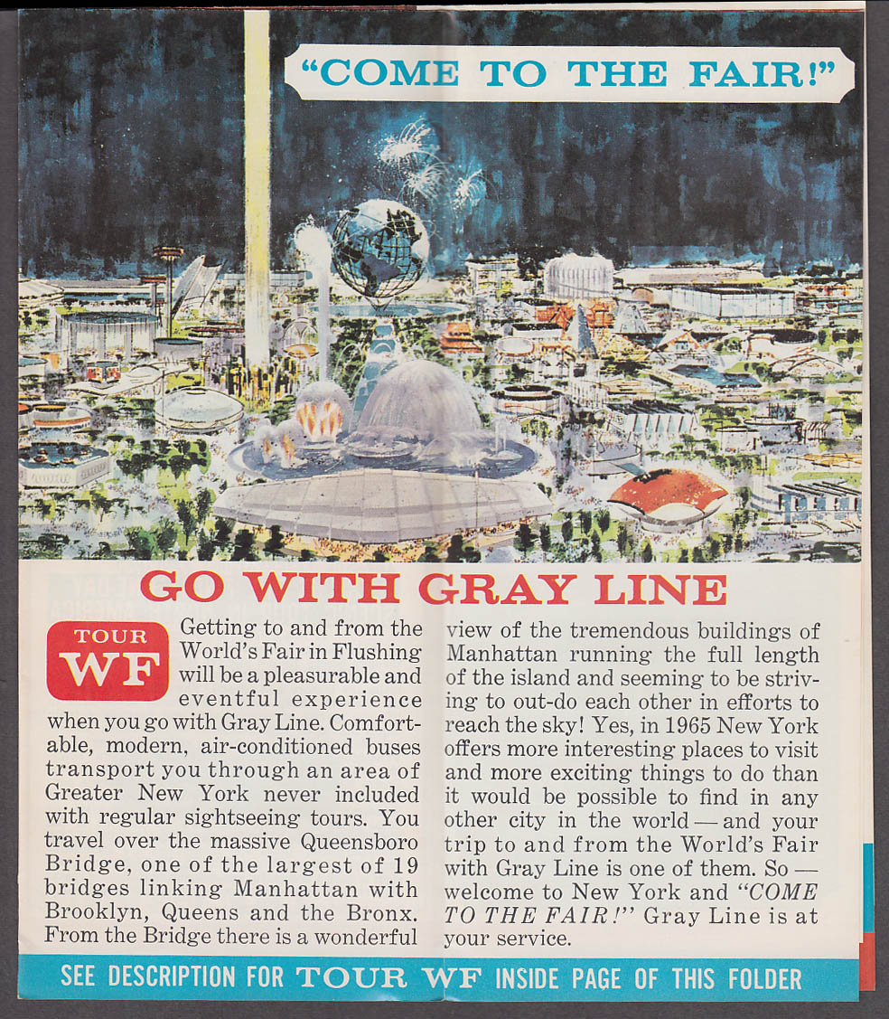Image for Gray Line Bus New York World's Fair Sightseeing folder 1965