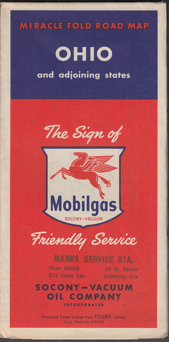 Image for Mobilgas Gasoline Road Map Ohio & Adjoining States 1954